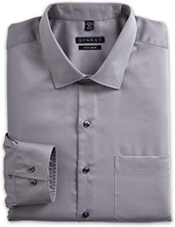 Synrgy by DXL Big and Tall Sateen Dress Shirt, Gun Metal Grey 22 39/40