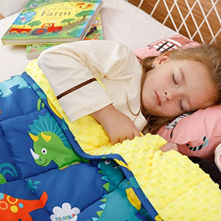BUZIO Kids Weighted Blanket 5 lbs, Ultra Cozy Minky Fleece and Cotton Sided with Cartoon Patterns, Reversible Heavy Blanket Great for Calming and Sleeping, 36x48 inches, Blue Dinosaur Park