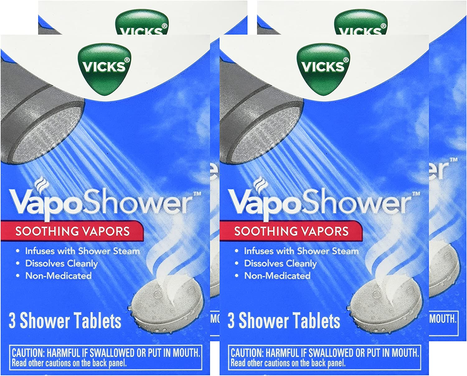 Vicks VapoShower Plus, Shower Bomb Tablets, Soothing Vicks Vapors Steam Aromatherapy with Eucalyptus and Menthol, Contains Essential Oils, 12 Tablets: Health & Personal Care
