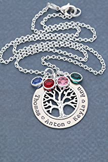 Silver Family Tree Necklace - Grandma Gift - Personalized Children's Nameplate Mother Birthstone Jewelry - 1.25 Inch Washer Swarovski Crystals - DII ABC