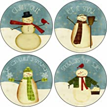 CoasterStone AS2725 Absorbent Coasters, 4-1/4-Inch,Snowmen, Set of 4