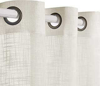VOILYBIRD Palma Linen Semi Sheer Curtains 84 Inch Length Living Room Draperies & Curtains Bronze Grommet (Buttercream, 52