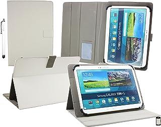 Emartbuy Wolder miTab Pro + 10.1 Pulgadas HD Tablet PC Universal (10-11 Pulgadas) Blanco Ángulo Múltiples Ejecutivo Folio Funda Carcasa Wallet Case Cover con Ranuras para Tarjetas+ Lápiz Óptico