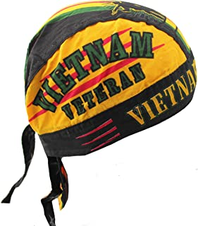 Hiphopville Yellow, Black, Red Vietnam Veteran Black Skull Cap Hat Bandana