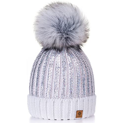 ed713f4a133 4sold Womens Girls Winter Hat Knitted Beanie Large Pom Pom Cap Ski  Snowboard Hats Bobble Gold