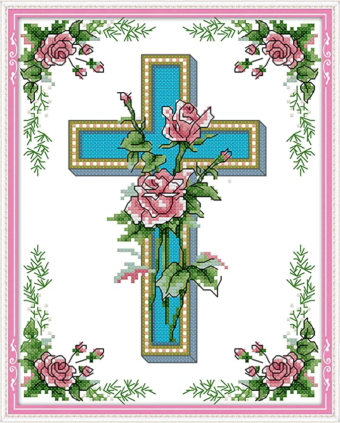 Counted Cross Stitch Kits Cross-Stitching Needlepoint Patterns for Beginner Kids Adults, Cross-Stitch Sewing Pattern Embroidery Kit 14CT White Fabric The Cross Rose