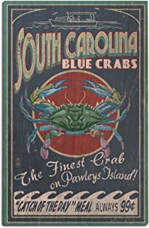 Lantern Press Pawleys Island, South Carolina - Blue Crabs Vintage Sign (12x18 Wood Wall Sign, Wall Decor Ready to Hang)