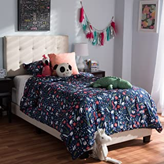 Baxton Studio Fabric Twin Size Platform Bed in Beige Finish