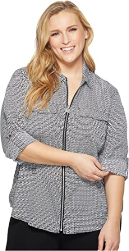 Plus Size Stamped Mod Geo Link Top