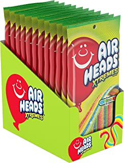 Airheads Xtremes Belts Sour Candy, Rainbow Berry, Non Melting, Bulk Party Bag, 4.5 oz ( Pack of 12)