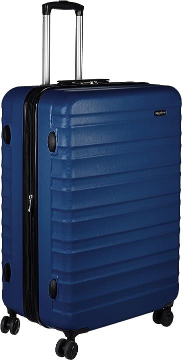 Trolley rigido con rotelle girevoli 78 cm blu scuro valigia amazon basics B0711F4437