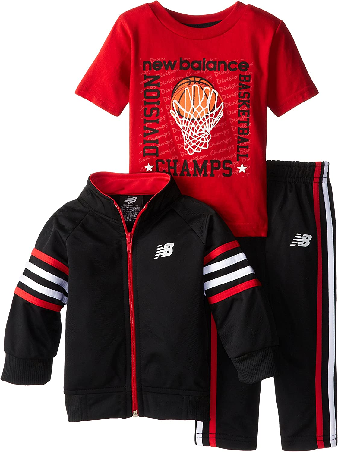 New Balance Baby Boys' Brushed Tricot Jacket and Pant with Jersey T Shirt Set, BLACK and RED