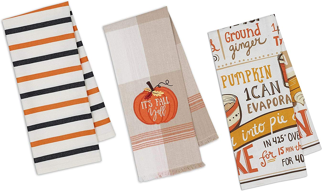 Pumpkin Themed Decorative Cotton Kitchen Towels Set 1 Fall Theme 1 Pumpkin Pie Recipe 1 Striped Print Towel For Dish And Hand Drying