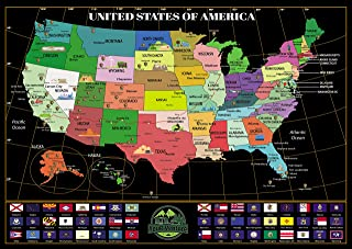 United States of America 'Where You've Been' Scratch Off Map by YouR-Venture! Explore The Country and Journal Your RV Adve...