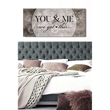 Sense Of Art | You and me we got This Quote | Wood Framed Canvas | Ready to Hang Family Wall Art for Home and Kitchen Decoration (Grey)