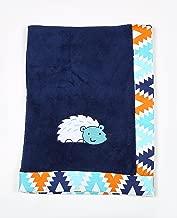Bacati - Tribal/Aztec Plush Embroidered 30 x 40 inches Baby Blanket (Aqua/Navy Hedgehog)
