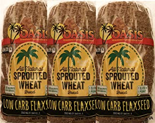 Oasis Flaxseed Bread, 3 Pack- Low Carb, Keto, All Natural, Sprouted