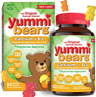Yummi Bears Vegetarian Calcium + Vitamin D3 Gummy Vitamin Supplement for Kids, 90 Gummy Bears