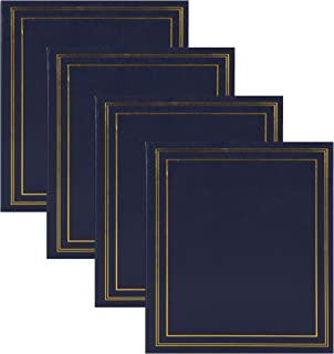 DesignOvation Traditional Photo Albums, Holds 440 4x6 Photos, Set of 4, Navy Blue