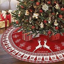 AerWo Christmas Tree Skirt, 48 Inch Large Rustic Christmas Tree Skirt with Snowflake and Reindeer, Red Knit Xmas Tree Skir...