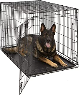 XL Dog Crate | Midwest Life Stages Folding Metal Dog Crate | Divider Panel, Floor Protecting Feet, Leak-Proof Dog Tray | 4...