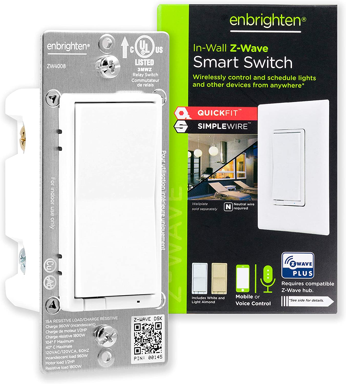 Enbrighten Z-Wave Smart Opening large release Limited price sale Rocker Light Switch and with QuickFit Si
