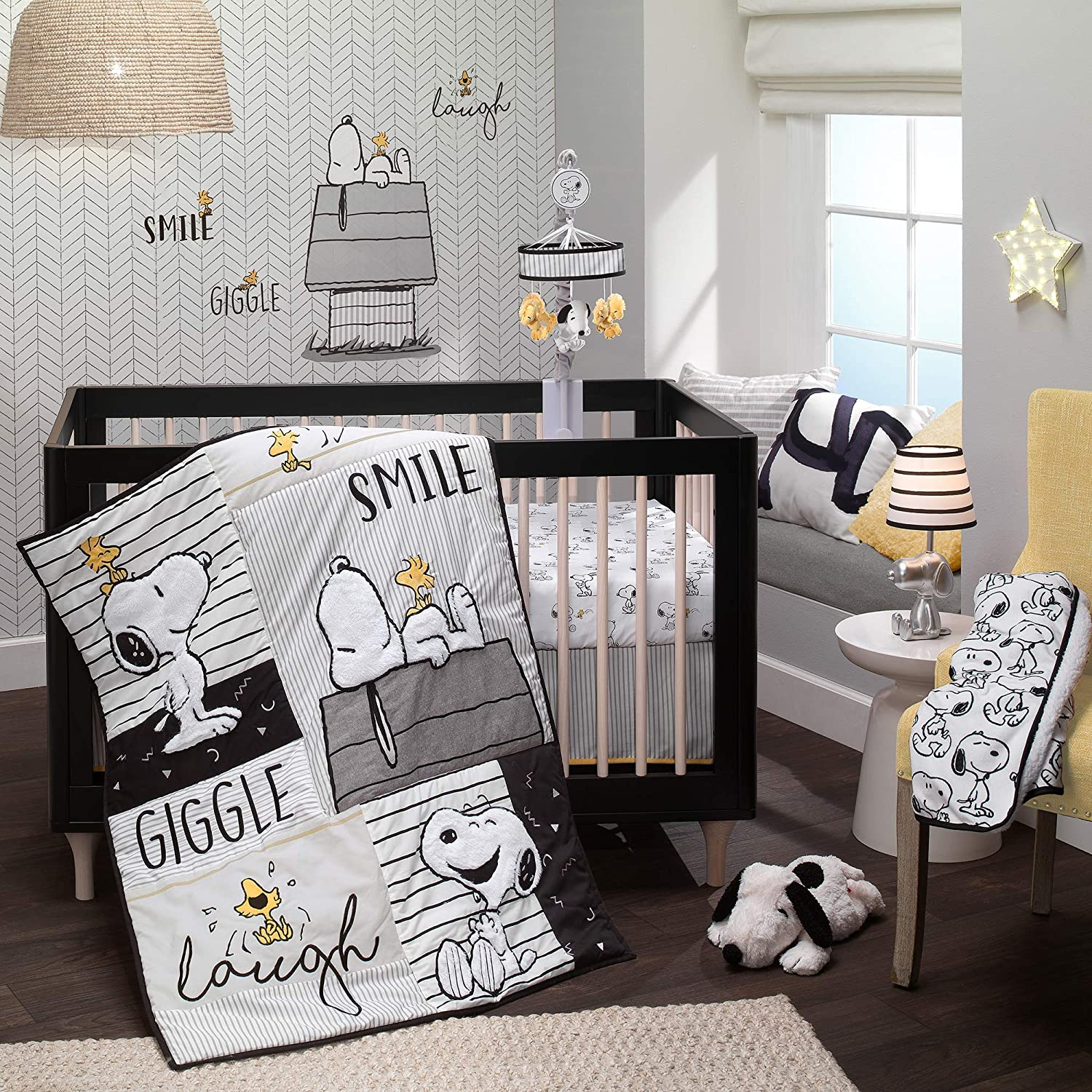 Lambs Ivy Classic Jacksonville Mall Los Angeles Mall Snoopy White Black 3-Piece Baby Gray Be Crib