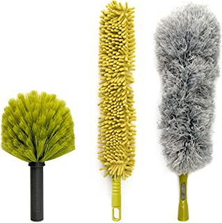 DocaPole Dusting Kit for Extension Pole or by Hand | Cleaning Kit Includes 3 Dusting Attachments | Cobweb Duster | Microfi...