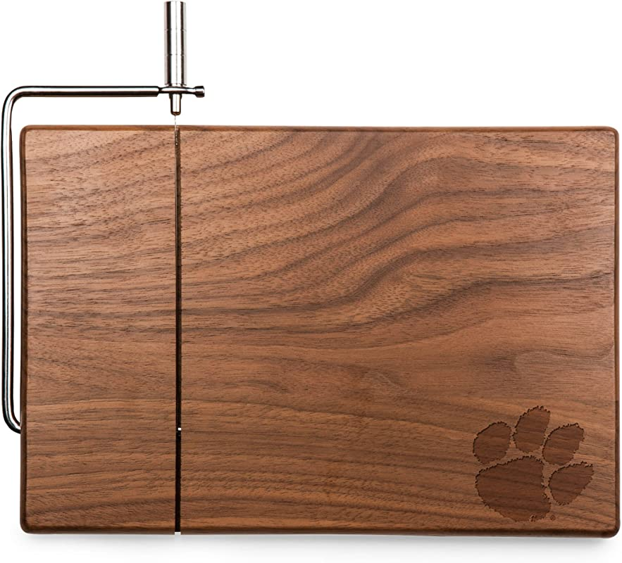 PICNIC TIME NCAA Clemson Tigers Meridian Black Walnut Cutting Board With Cheese Slicer