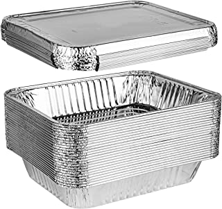 Plasticpro Disposable 9 x 13 Aluminum Foil Pans With Lids Half Size Deep Steam Table Bakeware - Cookware Perfect for Bakin...