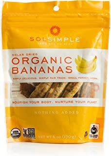 Sol Simple Solar Dried Banana Snack, Gluten & Preservative Free, No Sugar Added, USDA Organic, Non-GMO, Vegan & Kosher, Et...
