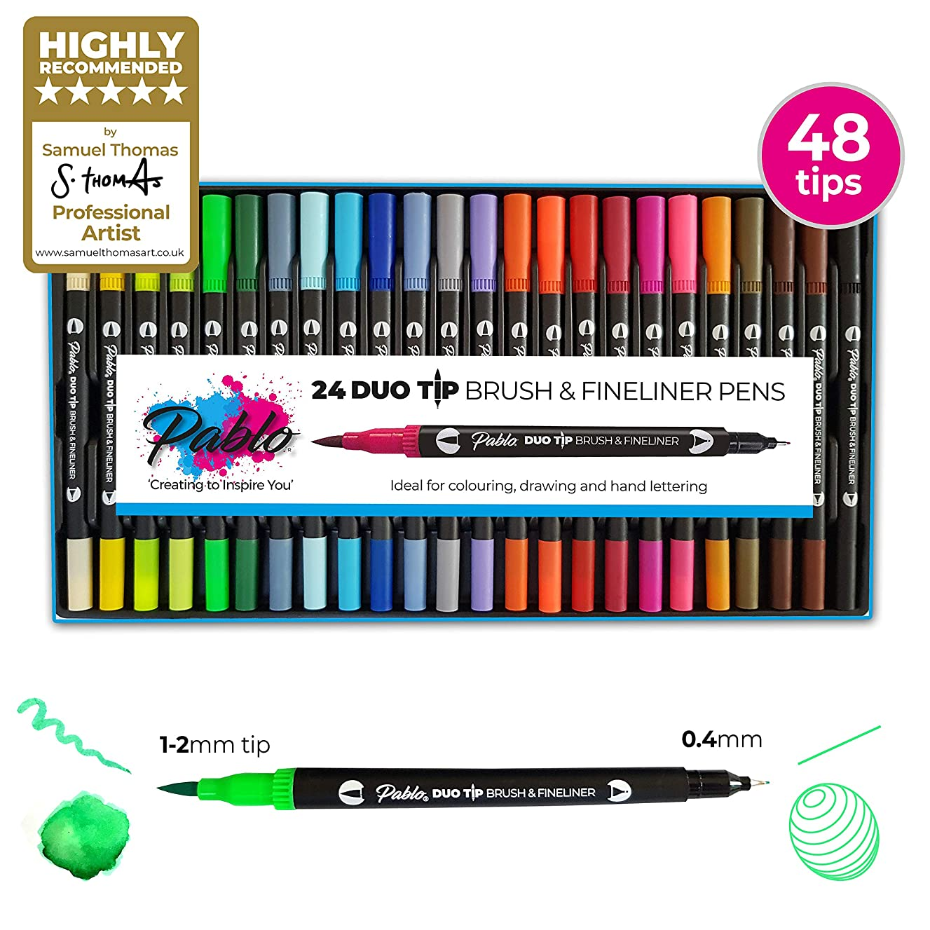 Fineliner Pens & Watercolour Brush Pens (Duo Tip, Set of 24) - by PABLO - Ideal for Colouring, Drawing & Hand Lettering - 48 nibs - Vibrant Colours - Water-Based Ink