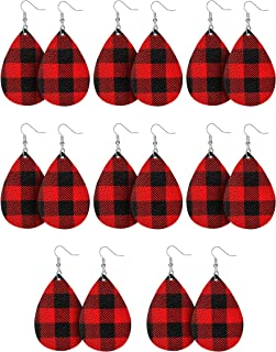 8 Pairs Christmas Plaid Earrings Faux Leather Dangle Earrings Long Plaid Statement Earrings for Women Girls