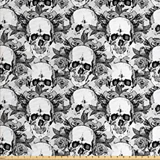 Lunarable Day of The Dead Fabric by The Yard, Skull Skeleton Pattern Print with Dia de Los Muertos Theme, Decorative Fabric for Upholstery and Home Accents, 2 Yards, White Grey