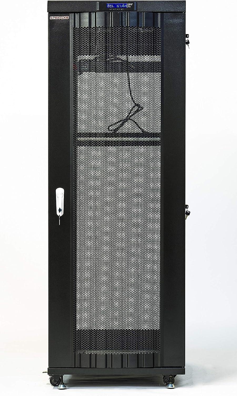 Sysracks Server Rack 22U Network Enclosure Data Cabinet Glass - Perforated Door It Rack - 32 inch Deep Server Rack - LCD Screen - Thermosystem - 4 Cooling Fans - PDU - Shelf - Casters - LCD Screen