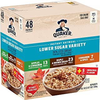 Sponsored Ad - Quaker Instant Oatmeal, Lower Sugar, 4 Flavor Variety Pack, Individual Packets, 48 Count