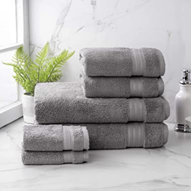 Welhome Cotton Rayon from Bamboo Bath Towel (Slate Grey) -Set of 6 -Soft & Fluffy -Highly Absorbent -Fade Resistant - Durable - Machine Washable - 2 Bath - 2 Hand - 2 Wash Towels