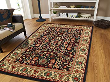 Amazon Com Large Area Rug 8x11 Oriental Rugs Black Persian Rug For Living Room All Over Flowers Traditional Carpet Western Style Furniture Decor