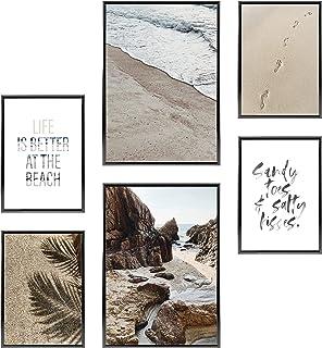 Heimlich Heimlich Premium Poster Set OHNE Bilderrahmen   Stilvolles Set mit passenden Bilder als Wohnzimmer Deko   2 x DIN A3 & 4 x DIN A4 - ca. 30x42 & 21x30   » Beach Time «