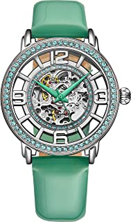 Stuhrling Original Womens Dress Watch with Leather Strap - Skeleton Watch Self Winding Automatic Watch Mechanical Wrist Watches for Woman Ladies Watch Collection