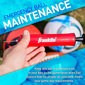 Franklin Sports Ball Maintenance Kit: Pump, Needles, Flexible Hose, Pressure Gauge and Carry Bag— Pump for Soccer Bal...