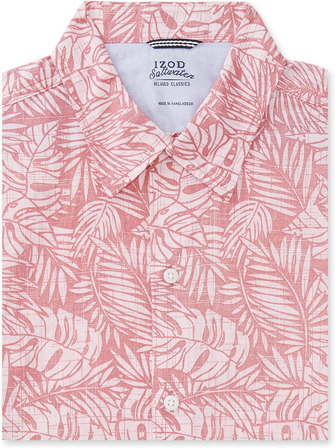 IZOD Men's Big and Tall Saltwater Dockside Chambray Short Sleeve Button Down Pattern Shirt