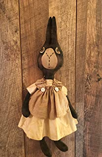 Primitive Folk Art Bunny Easter Rabbit Handmade Farmhouse Doll Tan Homespun Apron