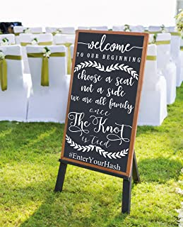 Wedding Welcome to our Beginning Decal for Sign- CUSTOM DECAL ONLY SIGN BOARD NOT INCLUDED Customized V5 Wall Decal choose seat not side Weddings Wedding Signs Chalkboard Mirrors rustic wooden sign