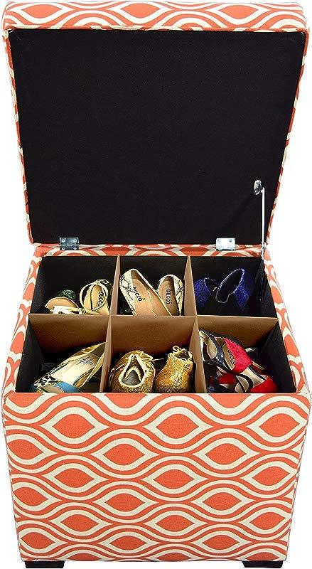 The Sole Secret Mini Shoe Storage Ottoman 18 5 X 19 X 19 Inches Nicole Series In Tabby Orange