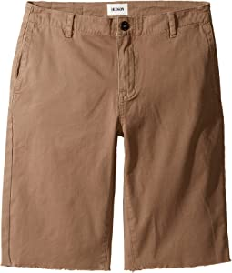 Beach Daze Raw Hem Sateen Chino Shorts in Dark Chino (Big Kids)
