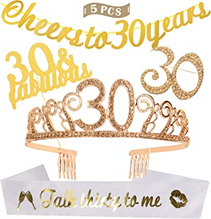 Dirty 30 Birthday Crystal Birthday Tiara/Crown and Glitter Sash, Cheers to 30 Years Banner, 30 Fabulous Cake Topper, 30 Rhinestone Brooch, 30th Birthday Party Decoration, Supplies, Gift (Gold)