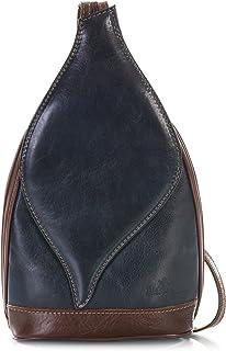 LIATALIA Womens Small Real Italian Leather Backpack Duffle Rucksack Shoulder Bag - KIM
