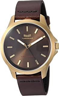 Vestal Stainless Steel Analog-Quartz Watch with Leather Strap, Brown, 18 (Model: HEI393L12.DBBK)