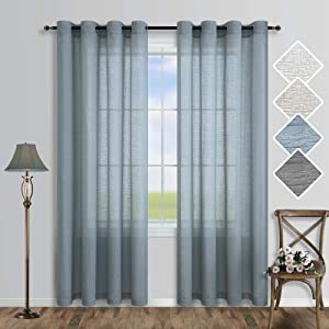 Pitalk Dusty Blue Curtains 84 Inches Long for Bedroom 2 Panels Grommet Voile Sheer Linen Semi Transparent Light Filtering Curtains for Living Room Rustic Country Farmhouse Decor Greyish Grayish Blue